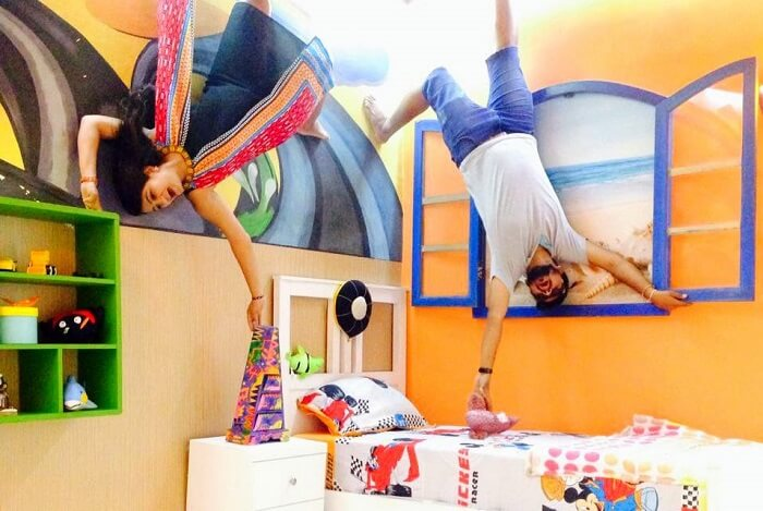 nirav & wife at Upside Down museum in Bali