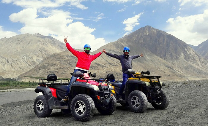 ninad riding atv bikes in nubra