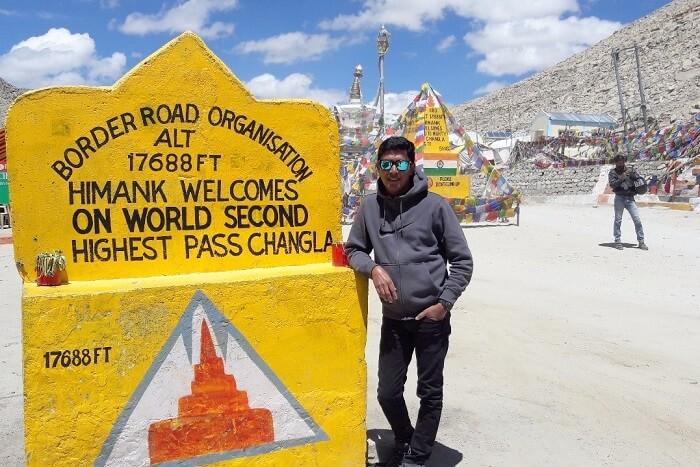 ninad at chang la in ladakh