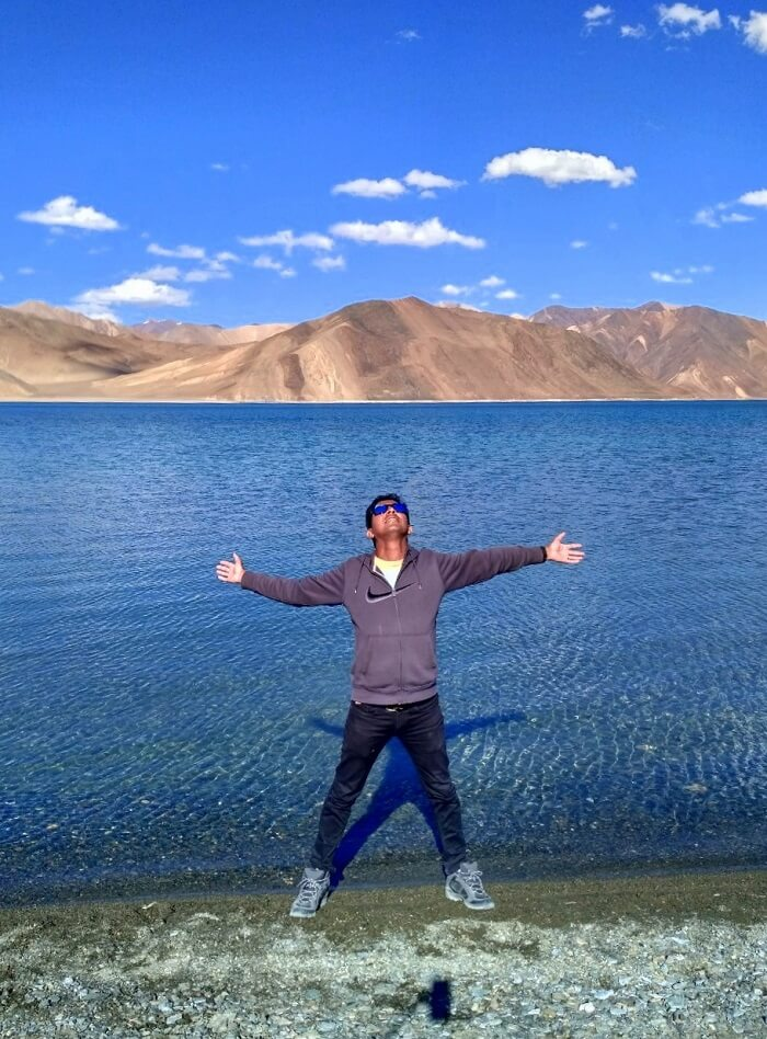 ninad enjoying scenic views at pangong
