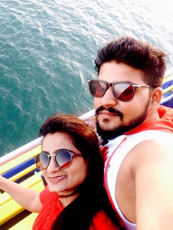 nirav and wife in bali going for dolphin tour