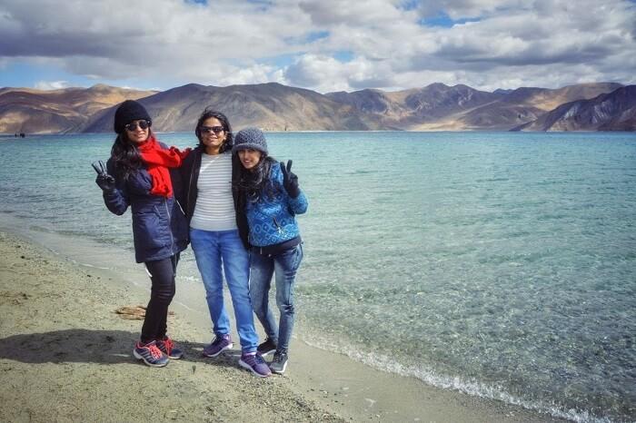 chilling by pangong lake