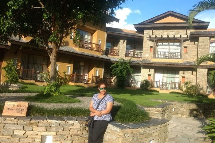 narayan's wife at Temple Tree Resort at Pokhara on his romantic nepal trip