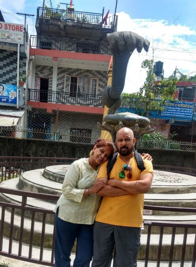 narayan and his wife on nepal trip before neelkanth temple