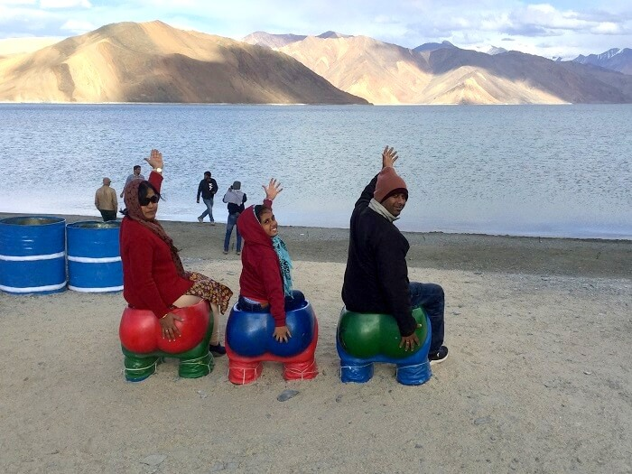 having fun at lake pangong