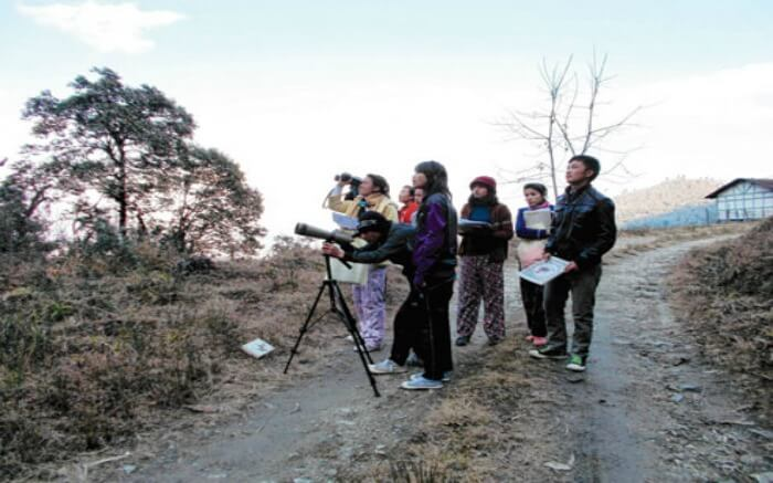 Kids taking photography tour in Eaglenest Wildlife Sanctuary