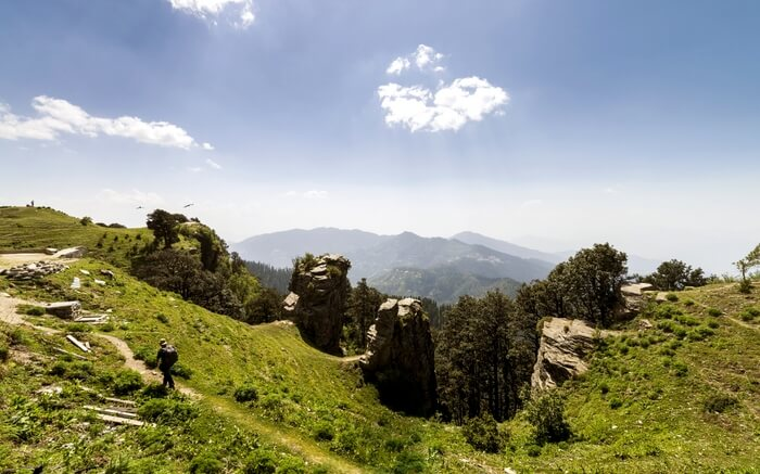 A traveler on his way to Hatu Peak in near Shimla
