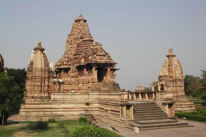 an ancient temple in Khajuraho
