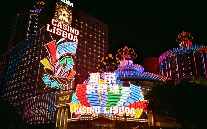 beautifully lit casino in Macau at night
