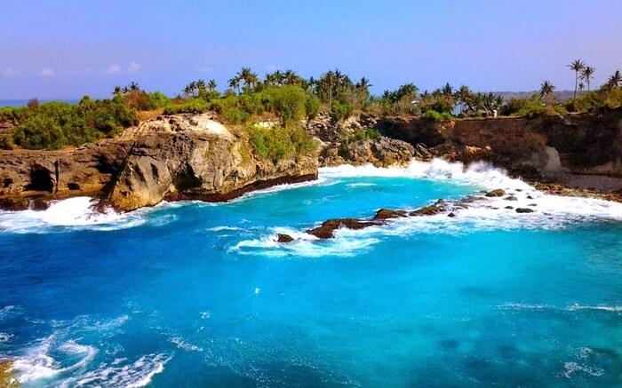 blue colour island water