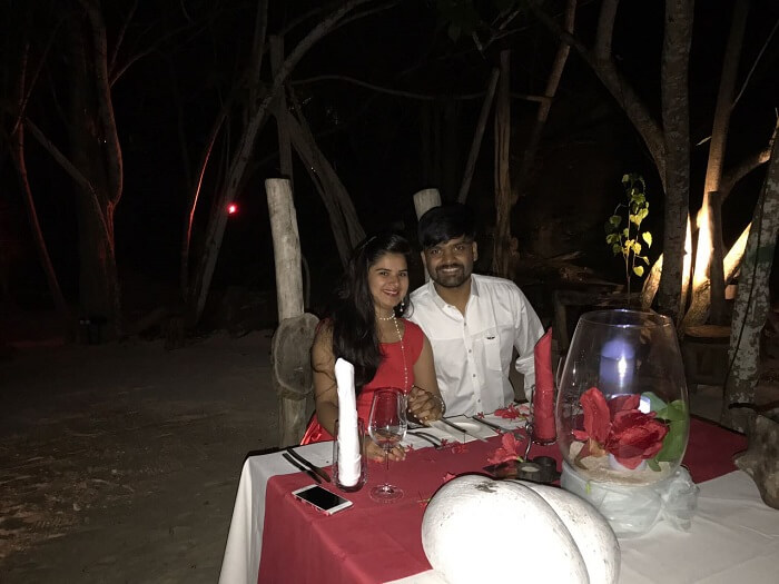 Romantic dinner in Seychelles