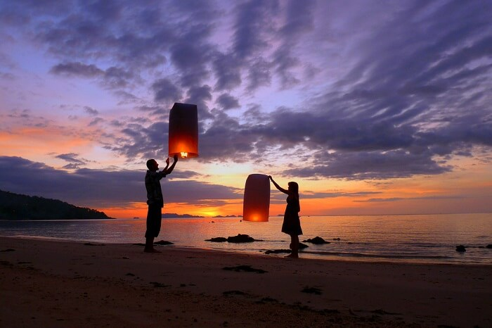 light and release floating candles in gokarna