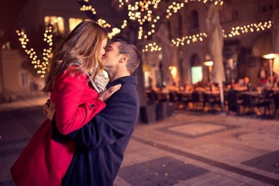 a couple spending a romantic New Year's eve