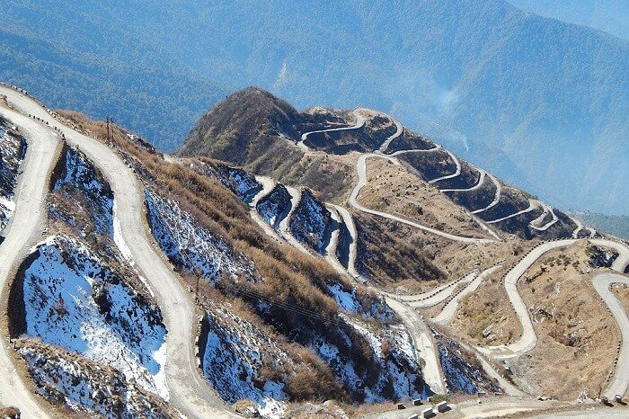 The zig-zag roads of The Old Silk Route at Zuluk near Gangtok