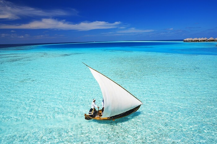 Sailing on blue lagoons in Maldives