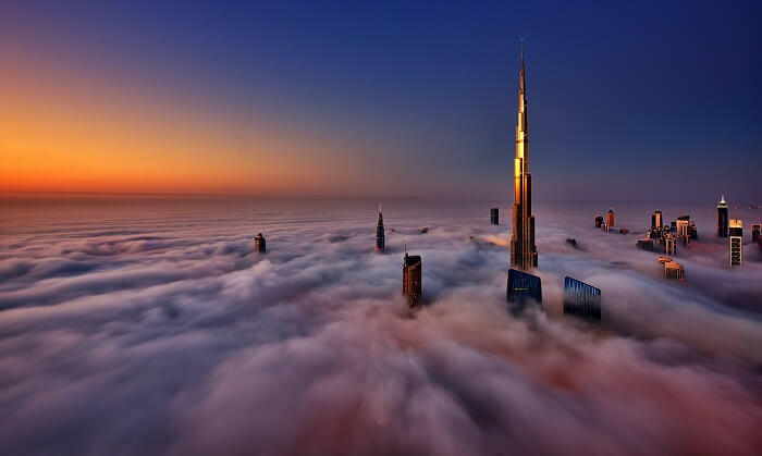 winter skyline in Dubai
