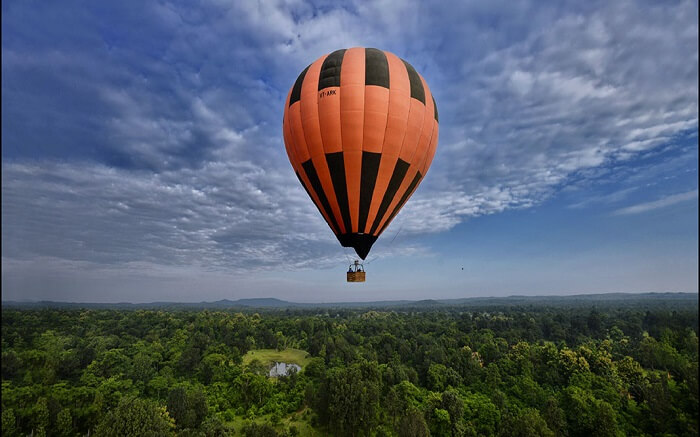 A hot air balloon in the sky over a green forest