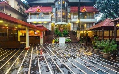 A well lit beautiful hotel premises