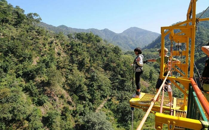 A woman ready for bungee jumping in Rishikesh