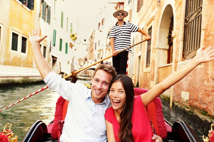 A honeymoon couple in Venice