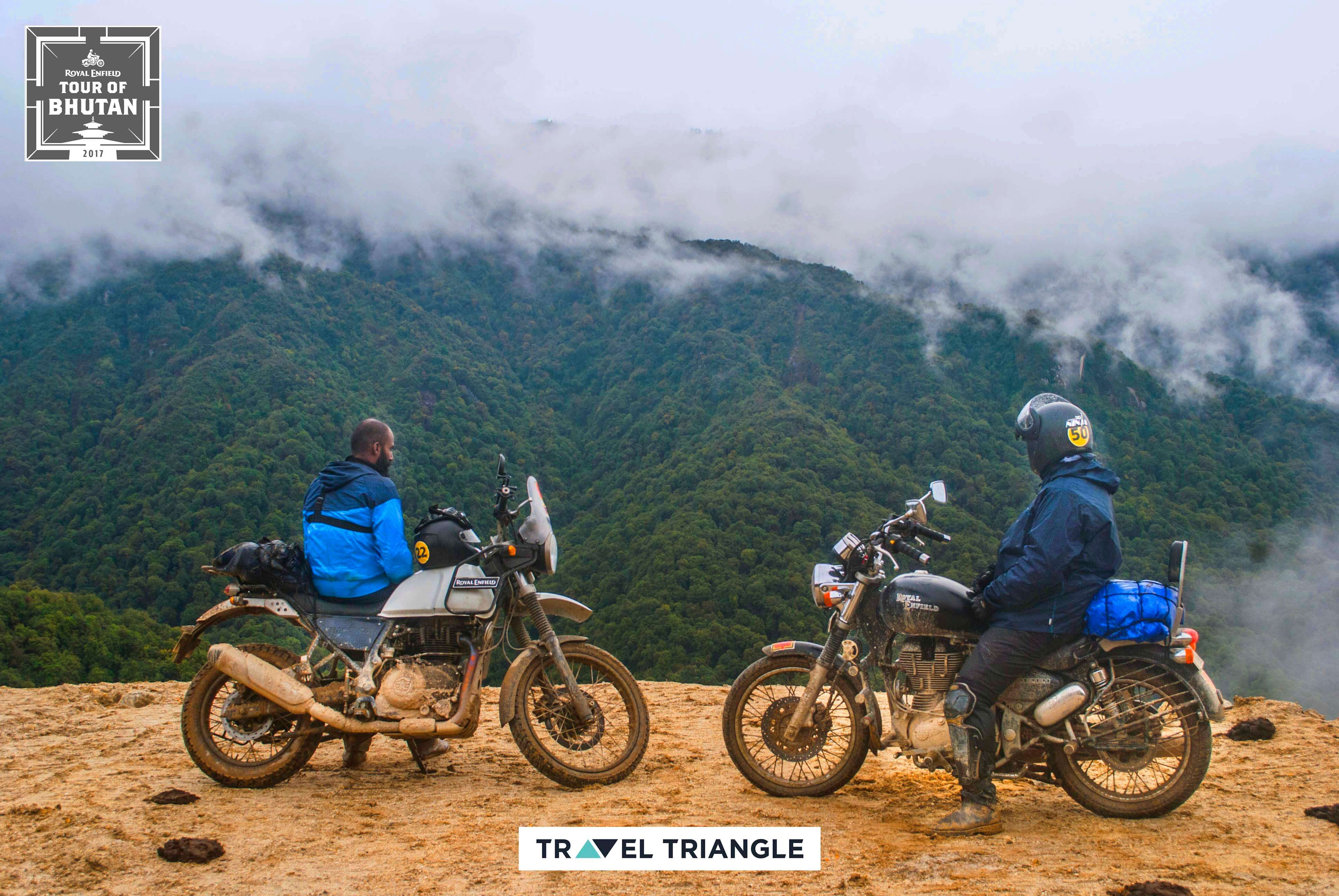 Phobjikha to Bumthang: Siddharth & another rider looking at views