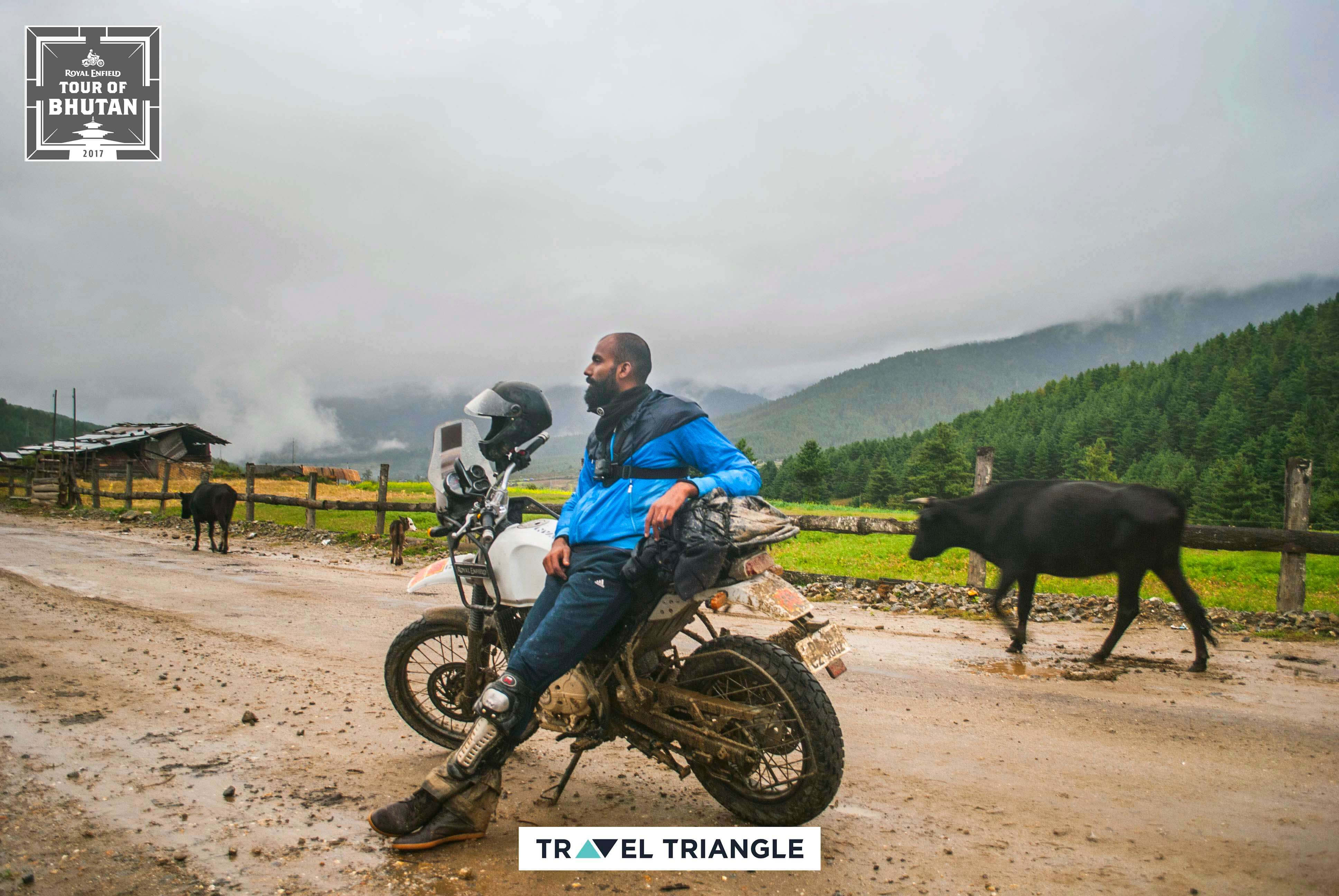 Phobjikha to Bumthang: Siddharth sitting on his bike in Bhutan
