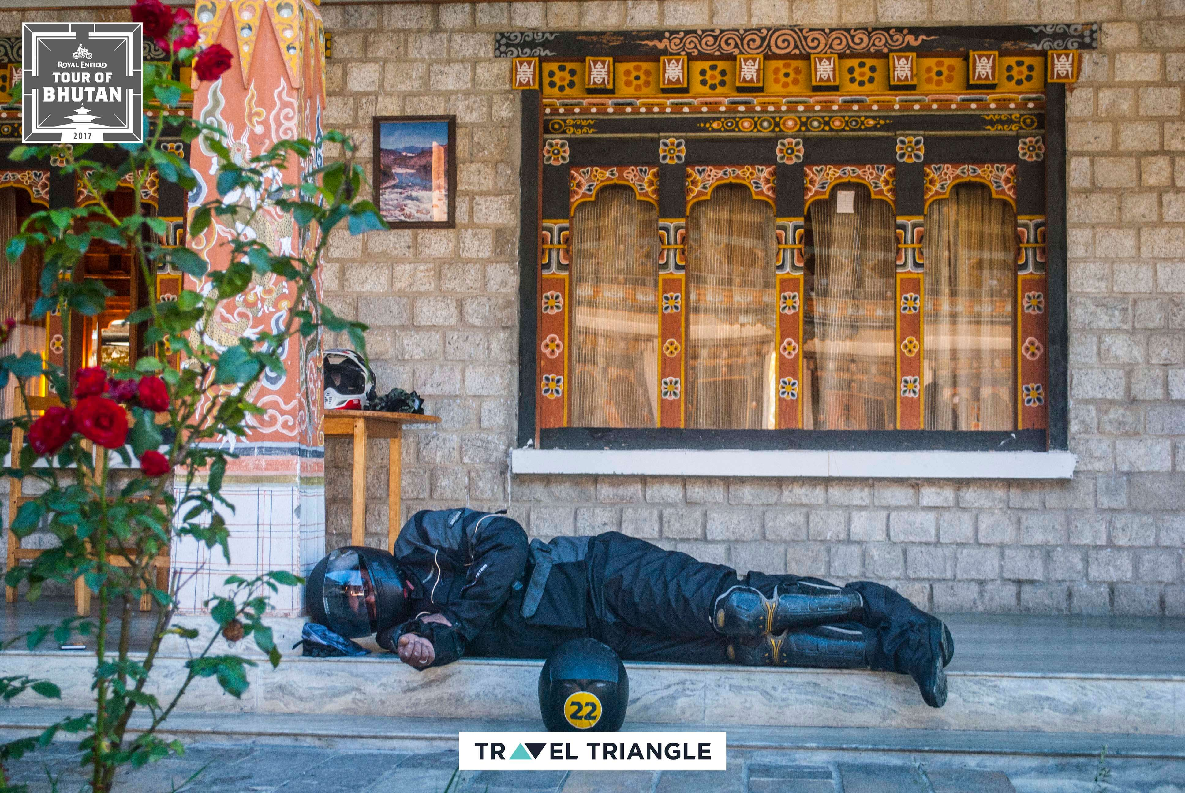 Bumthang to Mongar: a rider sleeping outside the hotel
