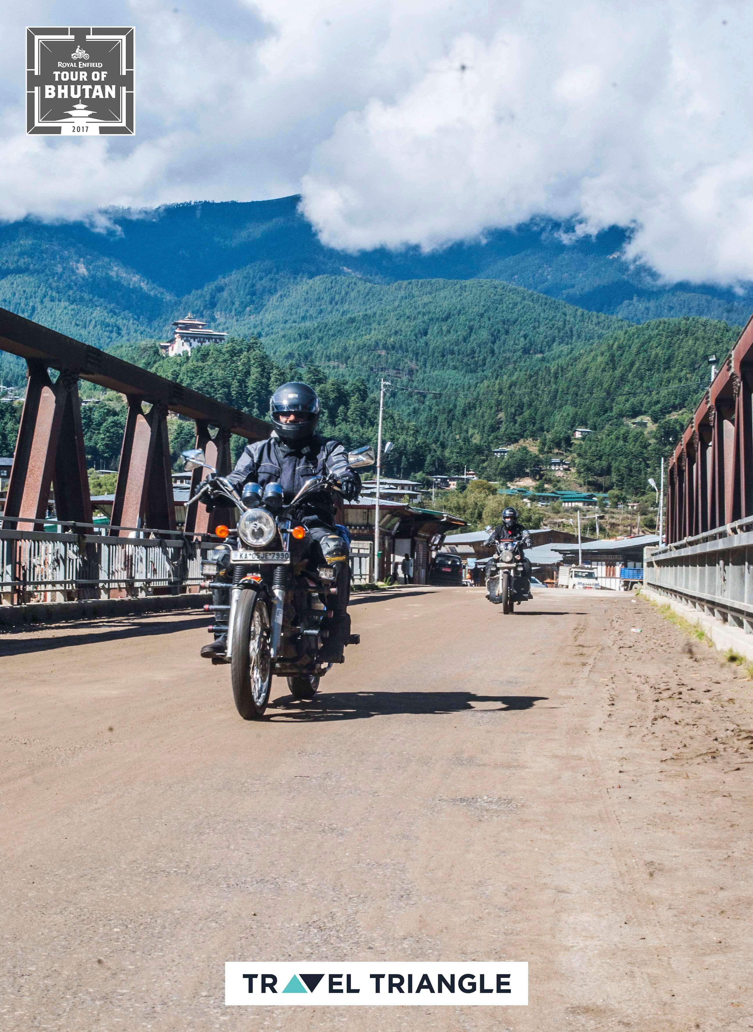 Bumthang to Mongar: riding over a bridge to mongar