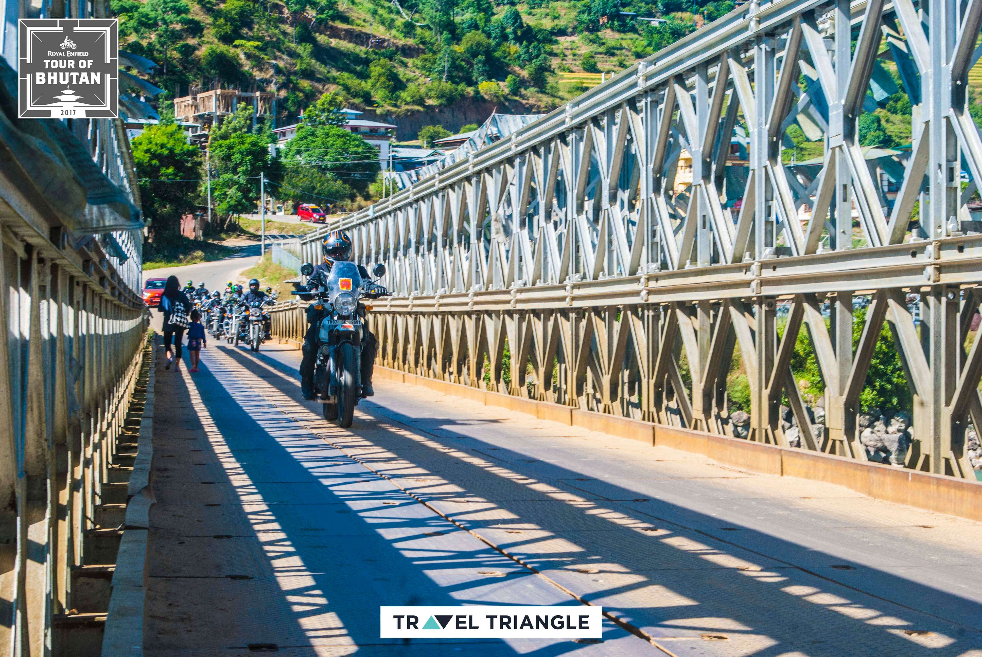 Thimphu to Punakha: riding on a bridge