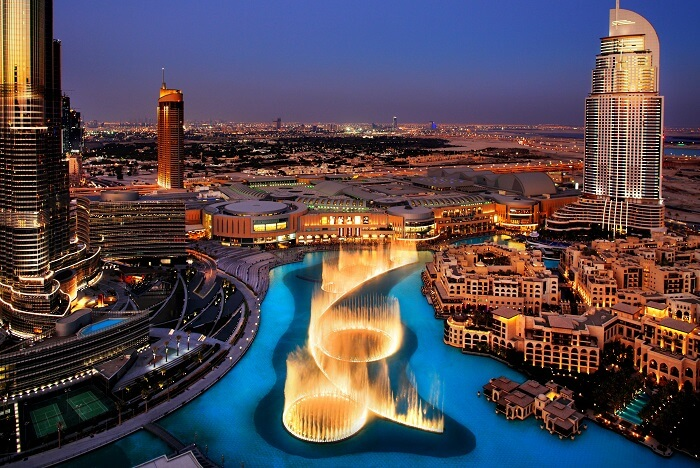 witness the magical Dubai Fountains show