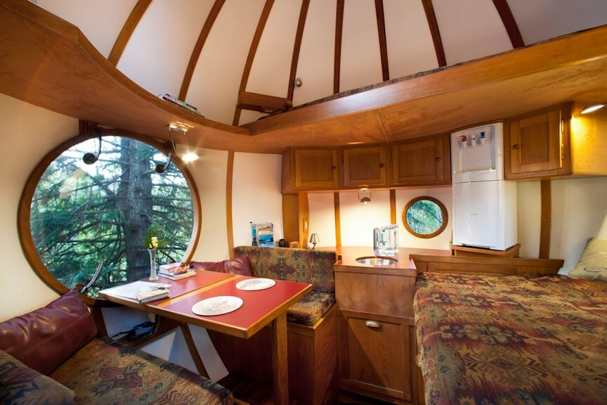 The beautiful interior view of Free Spirit Spheres treehouse in Vancouver