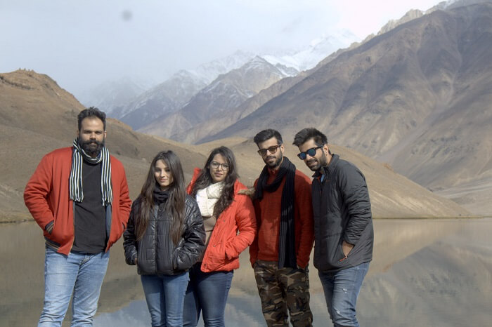 puneet and friends at chandra taal lake