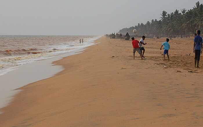 Kids playing on a brown beach