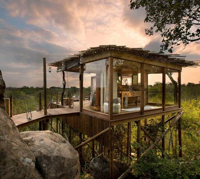 A romantic setting at Kingston Treehouse in Lion Sands in Africa