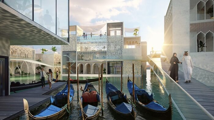Venetian gondolas in Dubai's underwater resort