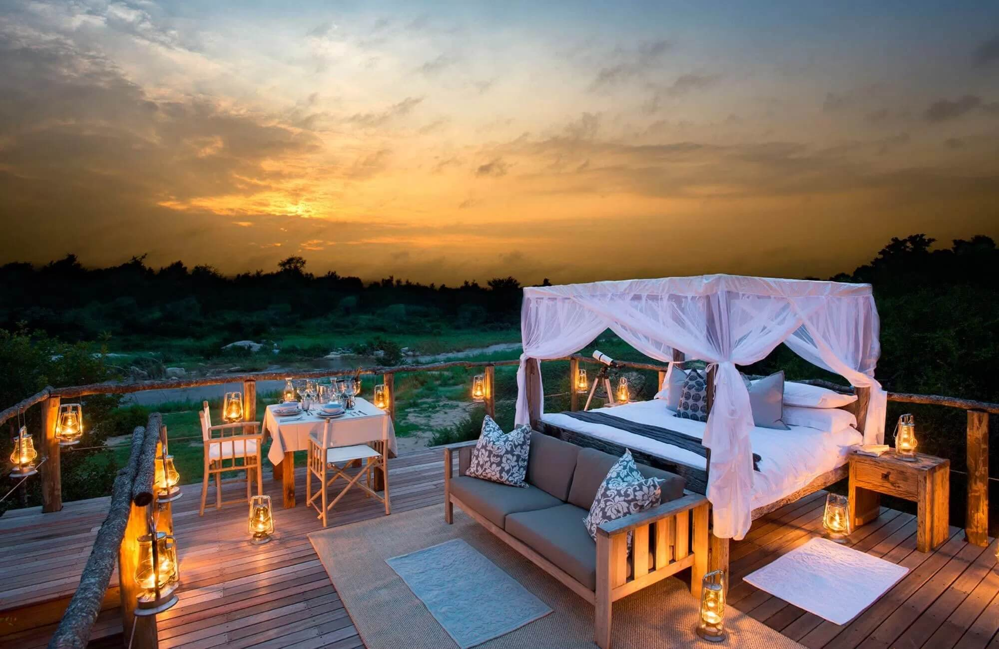 A magical setting atop the treehouse in Lion Sands Game Reserve in Kruger National Park