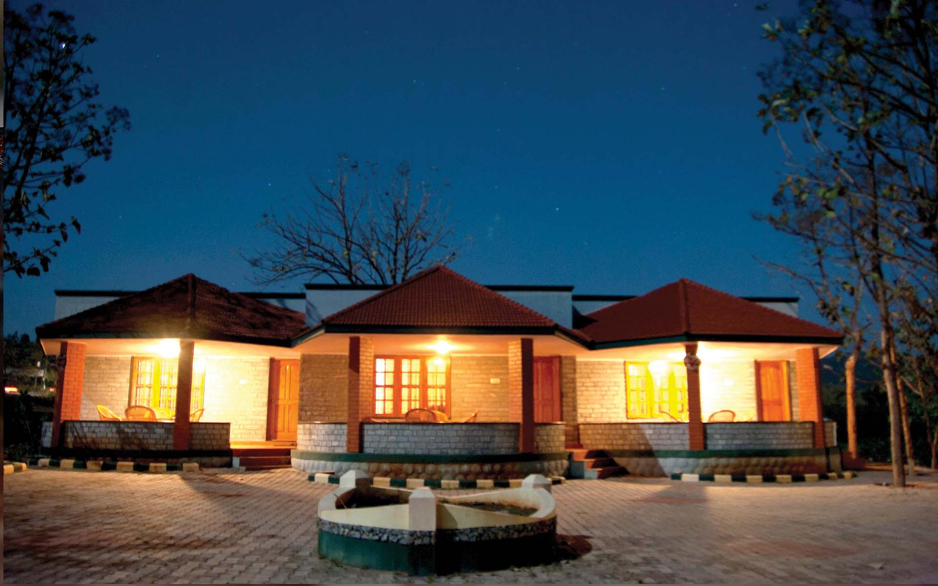 a well lit resort at night in Bandipur