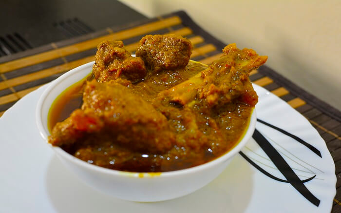 Mutton curry in a bowl