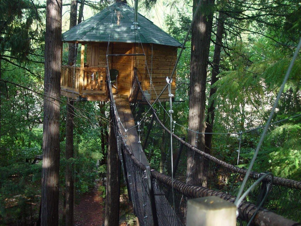 The hanging bridge leading to Out N' About Treehouse Treesort in Oregon