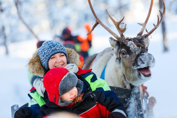 Reindeer ride in Lapland