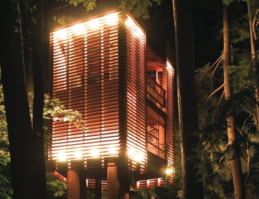 a well-lit treehouse in Muskoka in Canada