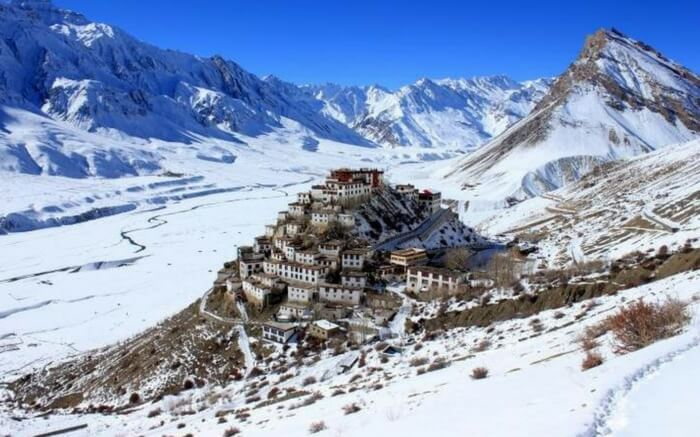 The top view of Ki Monastery in Spiti