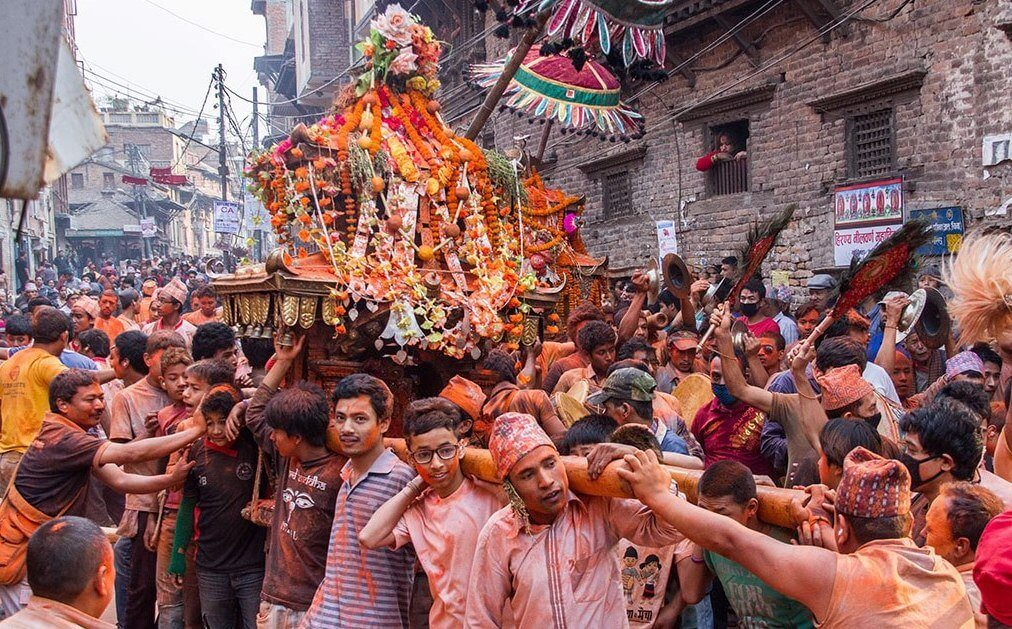 people celebrating bisket jatra fes
