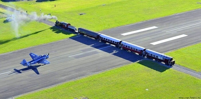 plane and train on same track