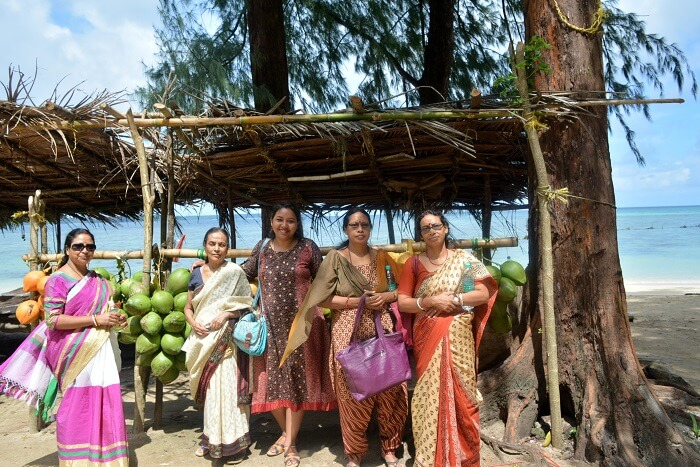 women on wandoor beach port blair