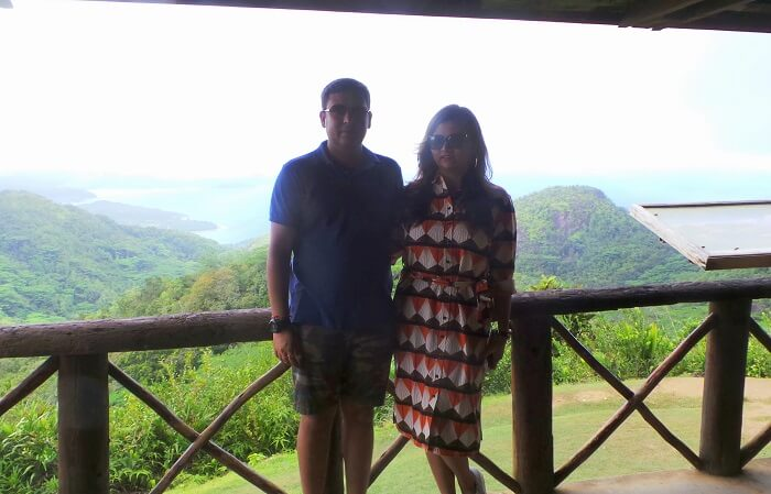 Couple on a romantic trip to Seychelles