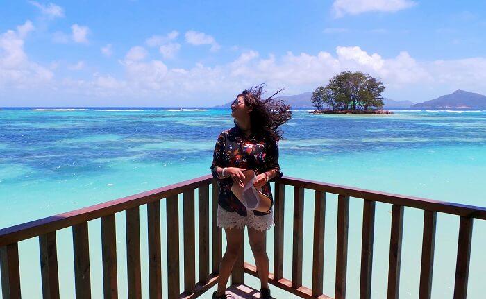 Female traveler in Seychelles