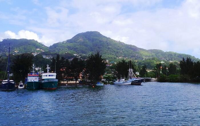 Ferry boats on Mahe Island Seychelles