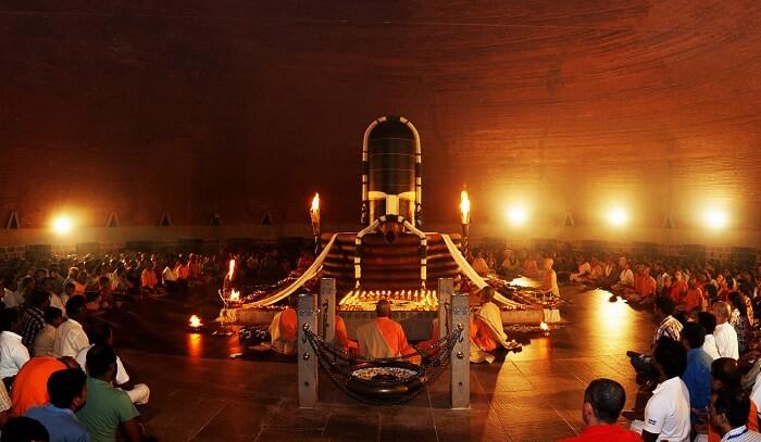 Meditating at Dhyanalinga