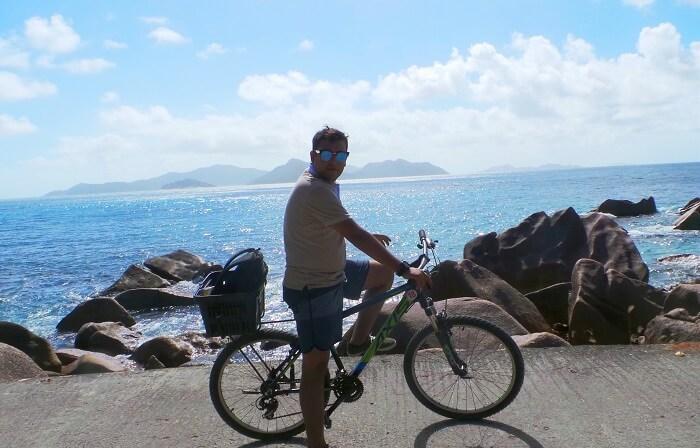 Traveler at La Digue Island, Seychelles